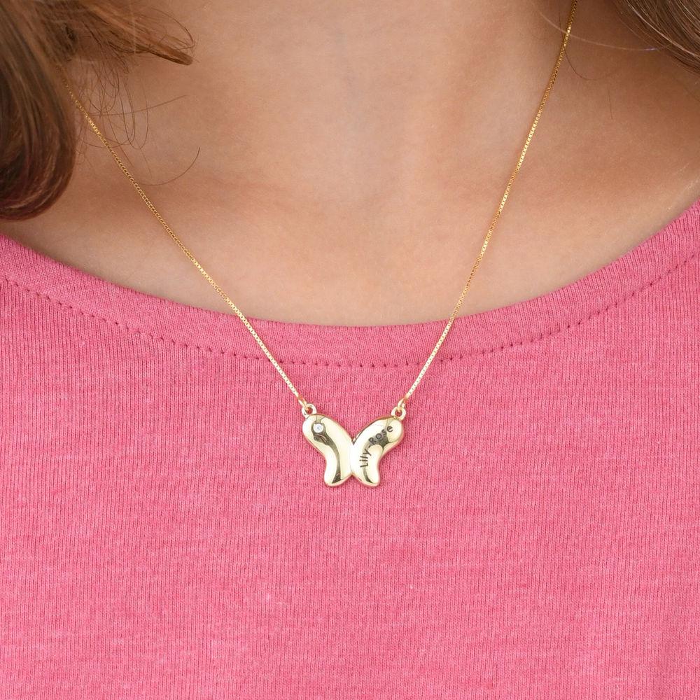 Collier papillon pour fille en Or 10K avec zircon cubique - 2