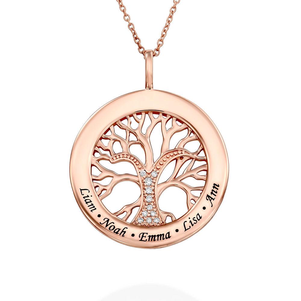Collier avec pendentif arbre de vie rond et diamants en or rose