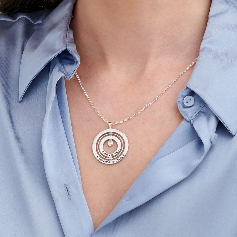 Collier Cercle de Vie Gravé en Argent avec Diamant - 2