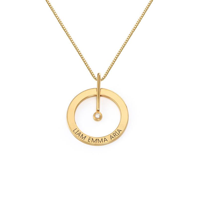 Collier Cercle Personnalisé avec Diamant  en Or Vermeil 18Cts