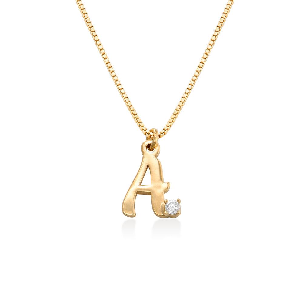Collier avec lettre initiale et diamant en plaqué or 18ct