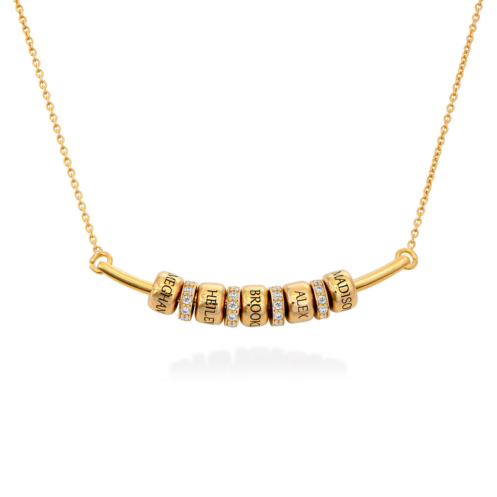 Collier Smile Bar avec Perles Personnalisées en Plaqué Or 18ct