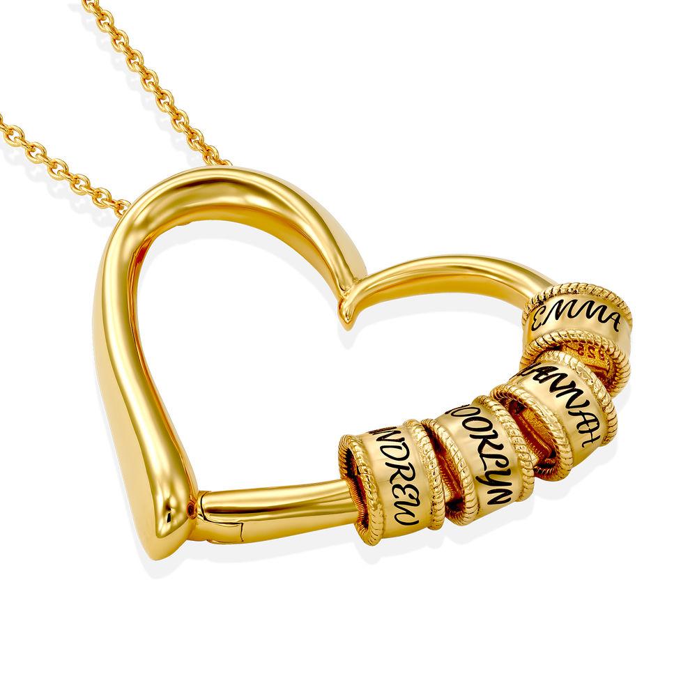 Collier à Pendentif Cœur avec Perles Gravées en Plaqué Or 18ct - 1