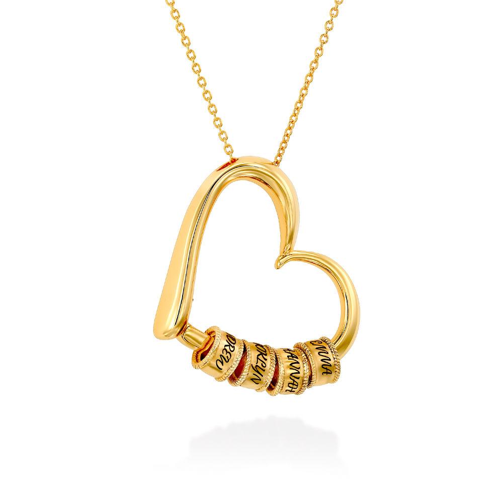 Collier à Pendentif Cœur avec Perles Gravées en Plaqué Or 18ct - 2