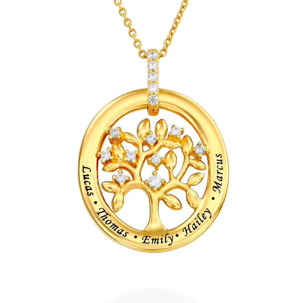 Collier d'arbre généalogique personnalisé en plaqué or