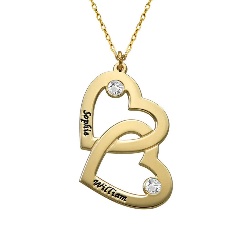 Collier cœurs entrelacés avec pierres de naissance en or 10 cts - 1