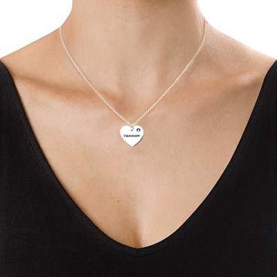 Collier Cœur personnalisé avec pierres de naissance - 1