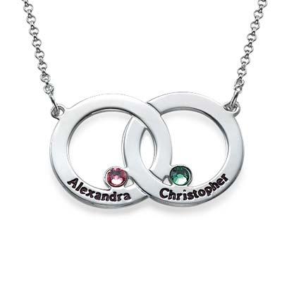 Collier Double Cercle en argent avec pierres de naissance