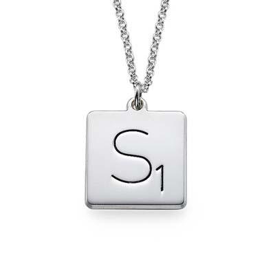 Collier Scrabble avec Initiale en Argent