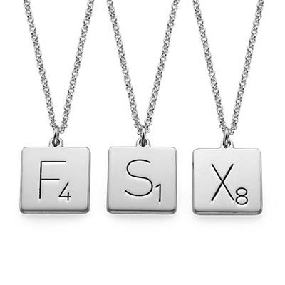 Collier Scrabble avec Initiale en Argent - 1