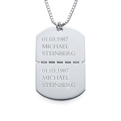 Collier Plaque Militaire Pour Homme en Argent - 1