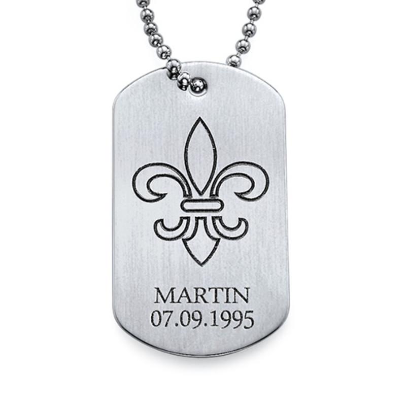 Collier Fleur De Lys Plaque Militaire Gravée- Acier Inoxydable