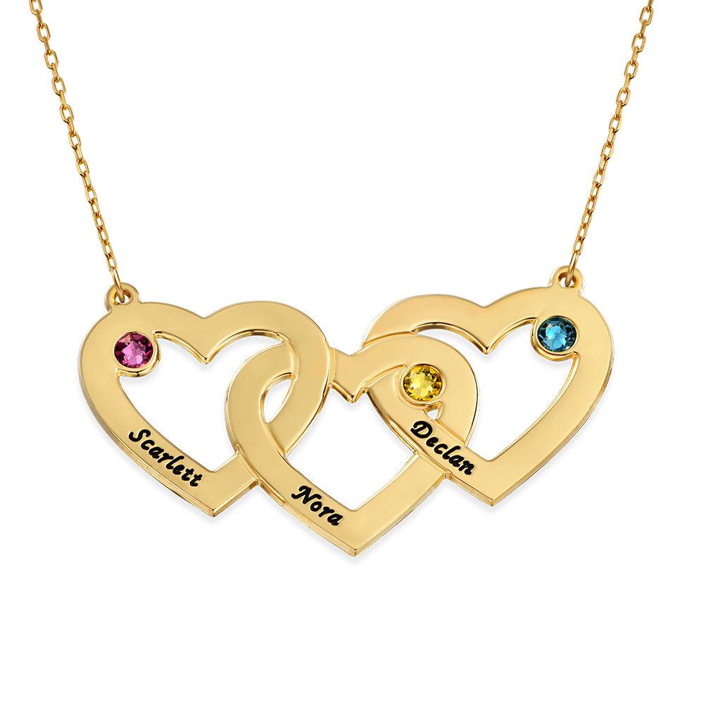 Collier en or 10 carats avec pierres de naissance et cœurs entrelacés