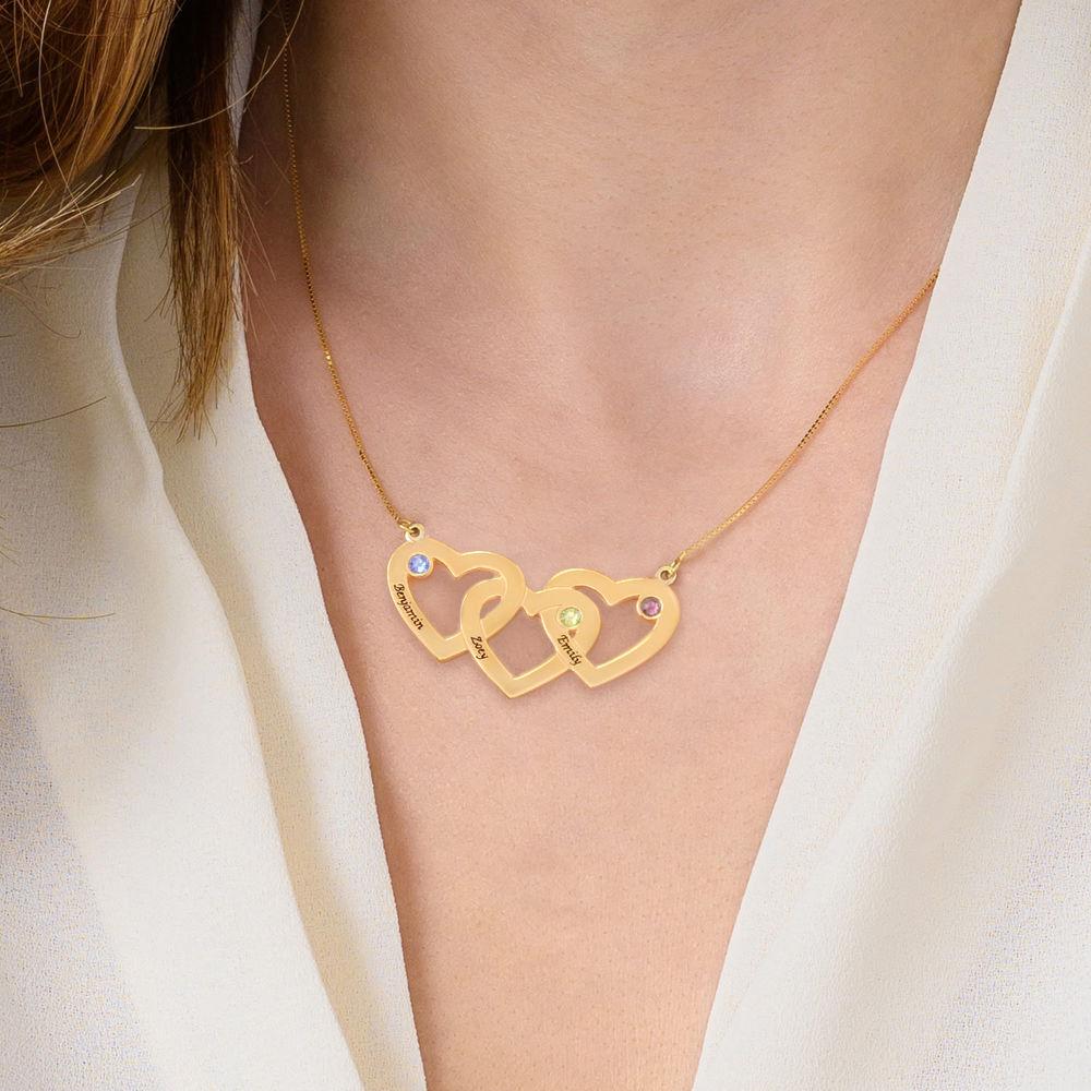 Collier en or 10 carats avec pierres de naissance et cœurs entrelacés - 1