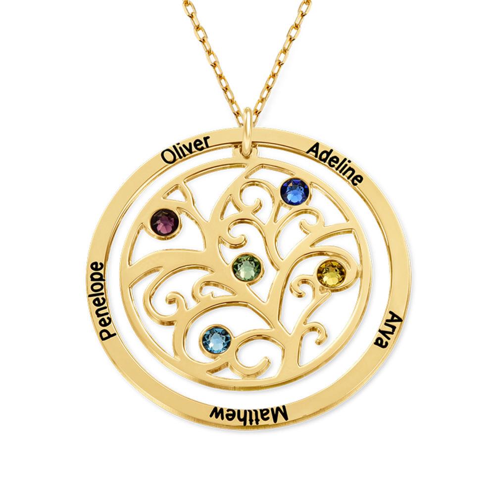 Collier arbre de vie avec pierres de naissance - Or jaune 10 carats