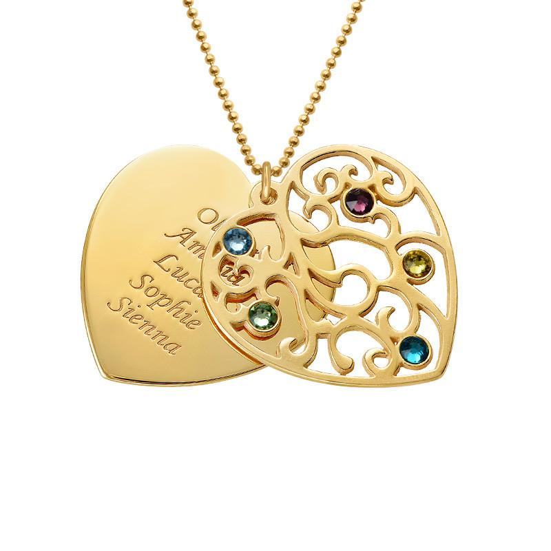 Collier Cœur de Famille Filigrane et pierres de naissance en plaqué or