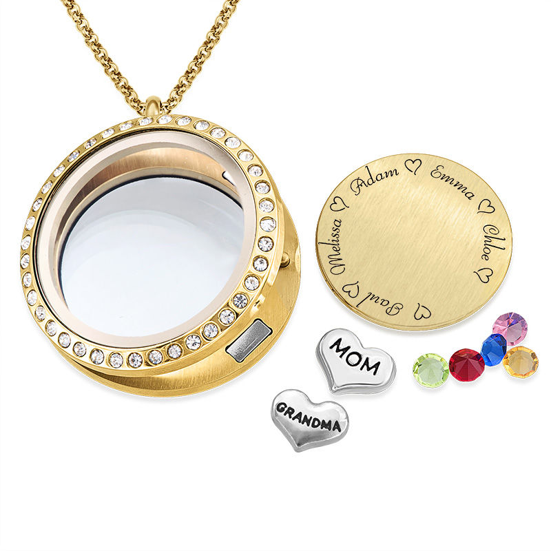 Médaillon pendentif gravé – pour Maman ou Grand-mère en plaqué or - 1