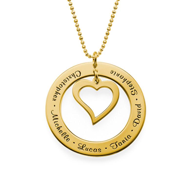 Collier Famille Pendentif Cœur en Vermeil d'Or