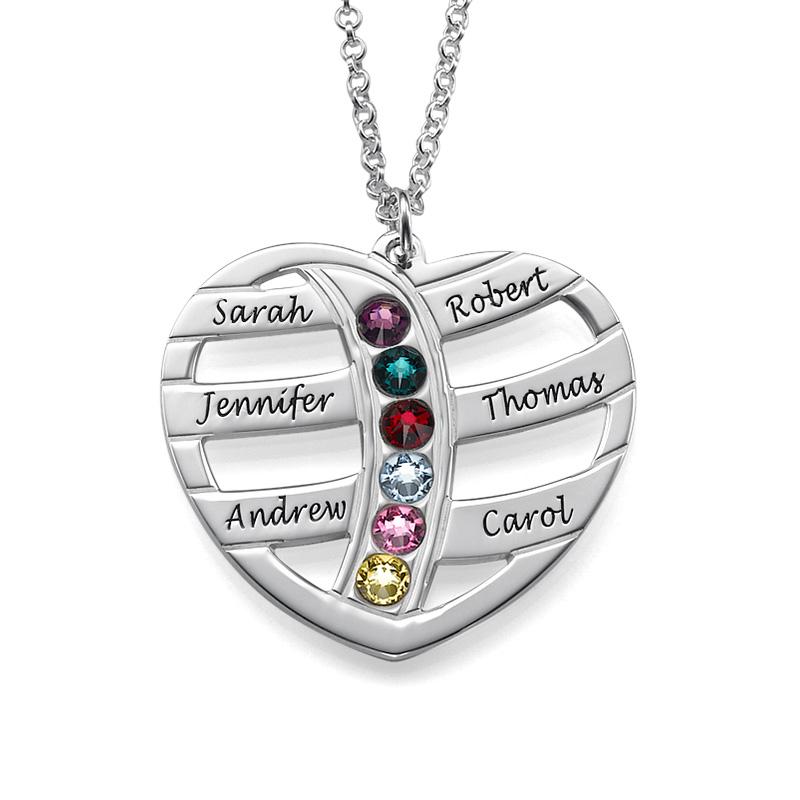 Collier Coeur gravé avec pierres de naissance