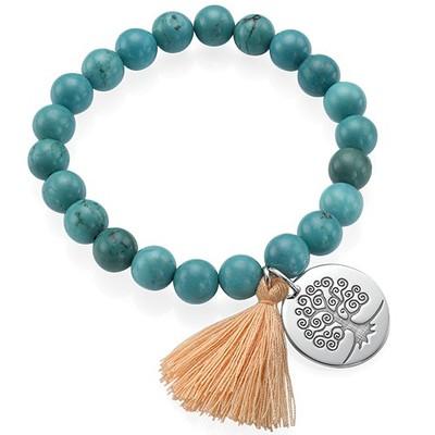 Collection Yoga – Bracelet de Perles Gravé Arbre de vie