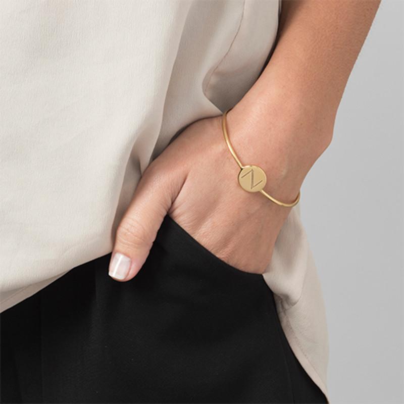 Bracelet Jonc Initiale Plaqué Or - Ajustable - 2