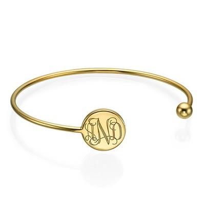 Bracelet Jonc Monogramme en Plaqué Or
