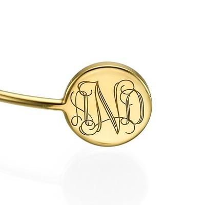 Bracelet Jonc Monogramme en Plaqué Or - 1