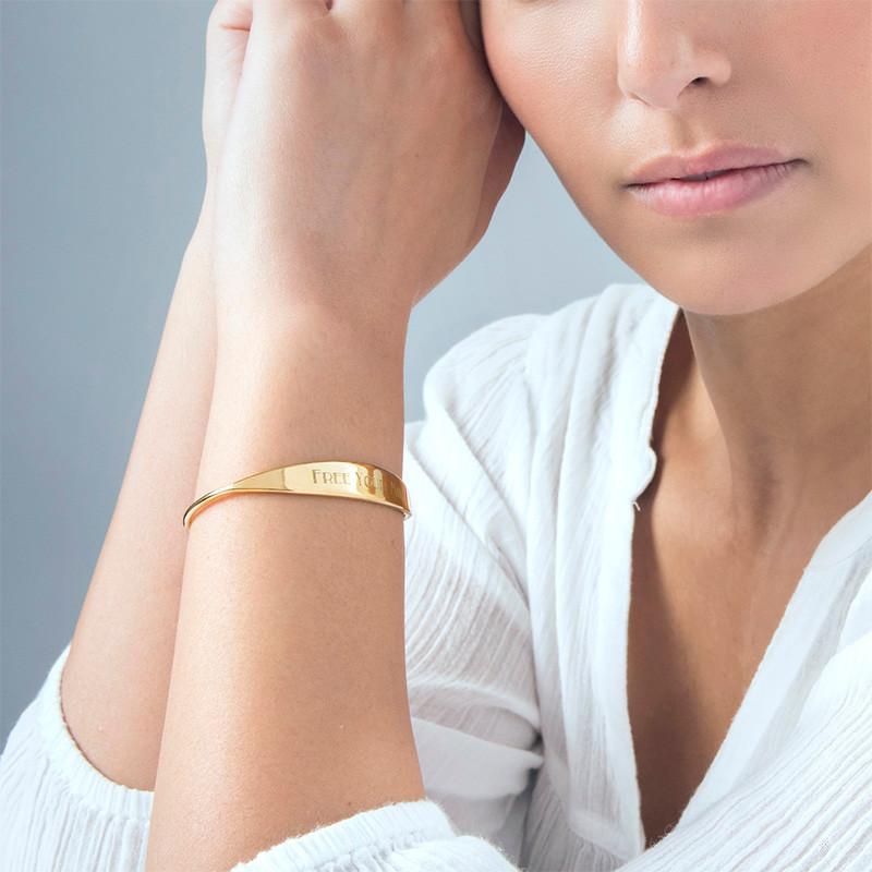 Bracelet jonc en plaqué or 18 carats avec ID - 1