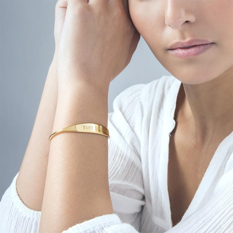 Bracelet jonc en plaqué or 18 carats avec ID - 2