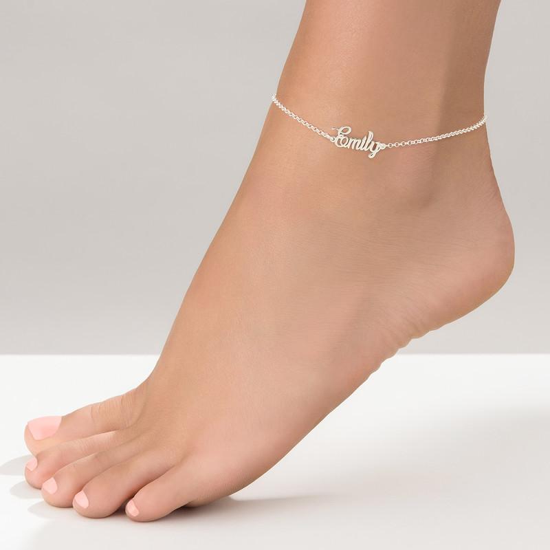 Bracelet de cheville avec prénom en argent - 1