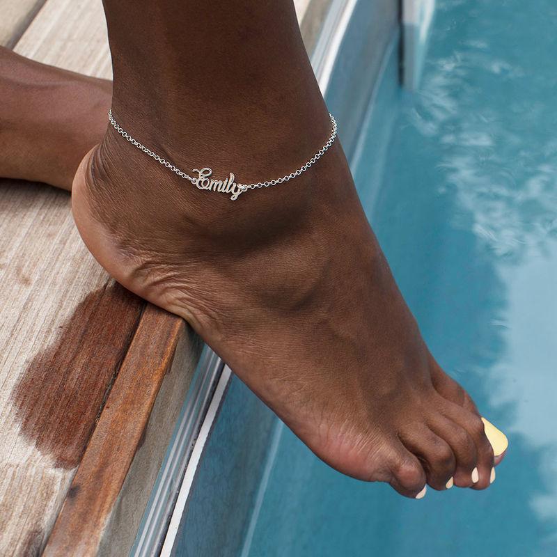Bracelet de cheville avec prénom en argent - 2