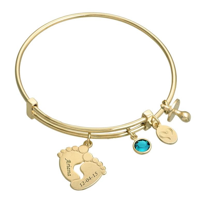 Bracelet jonc Pieds de bébé en plaqué or