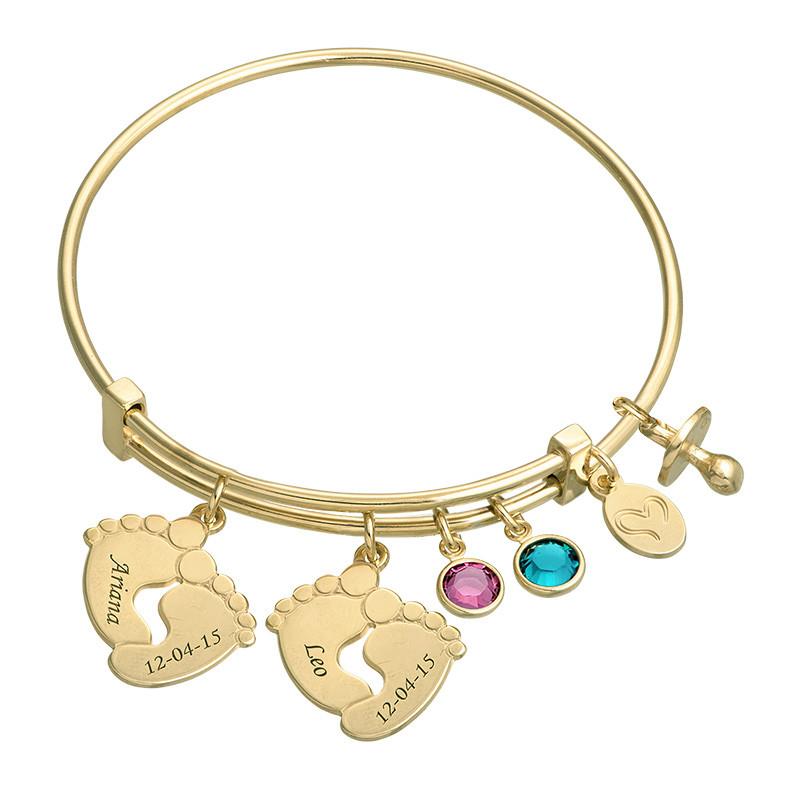 Bracelet jonc Pieds de bébé en plaqué or - 1