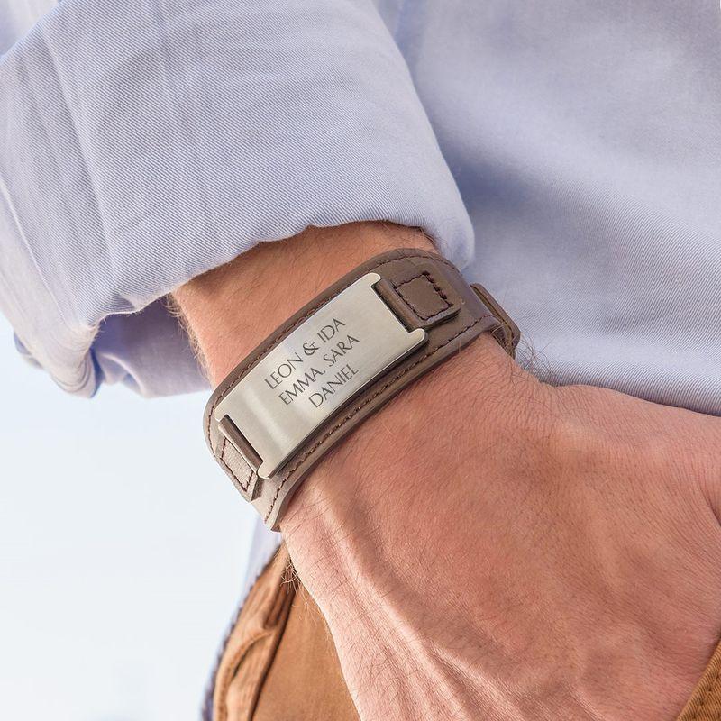 Bracelet personnalisé homme en cuir brun - 3
