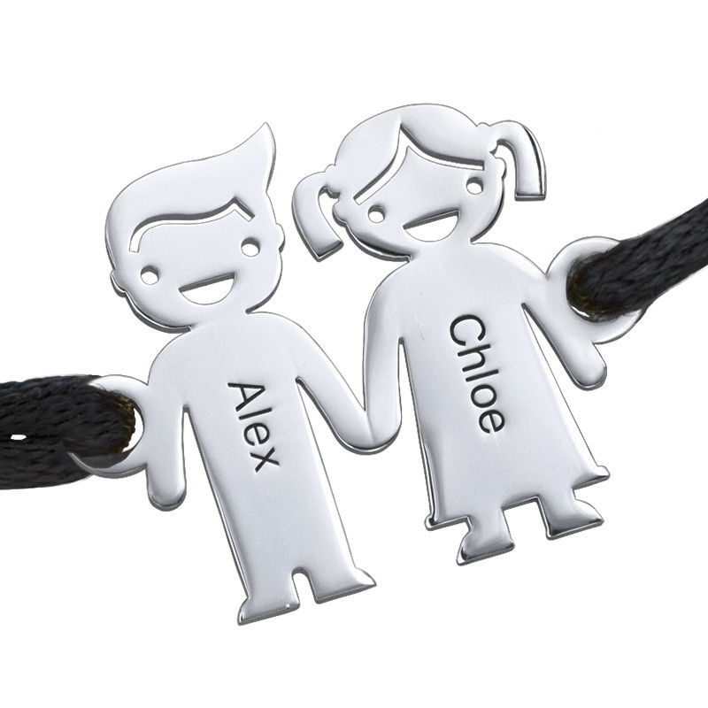 Bracelet cordon enfants se tenant par la main - 1