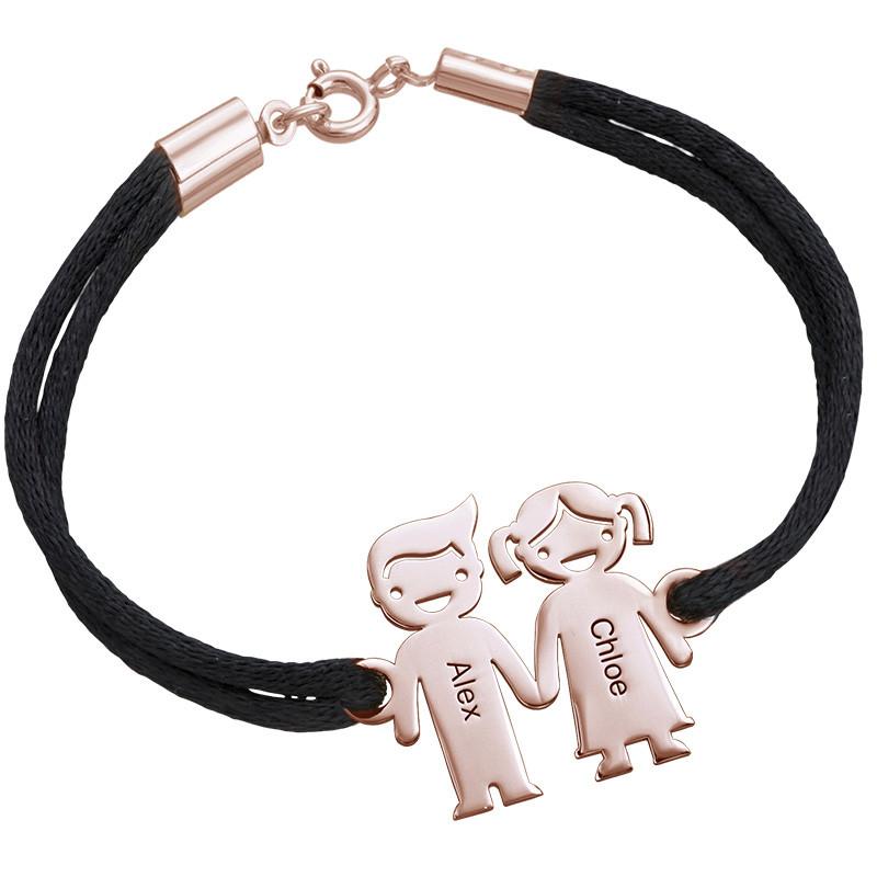 Bracelet cordon enfants se tenant par la main en Plaqué Or Rose