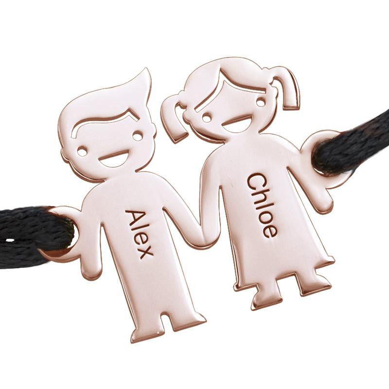 Bracelet cordon enfants se tenant par la main en Plaqué Or Rose - 1