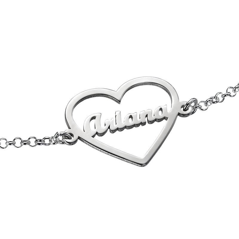 Bracelet Cœur gravé en argent - 1