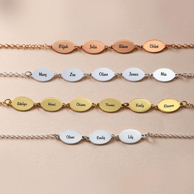 Bracelet de famille personnalisé pour Maman avec le nom des enfants -Pendentifs ovales - 3