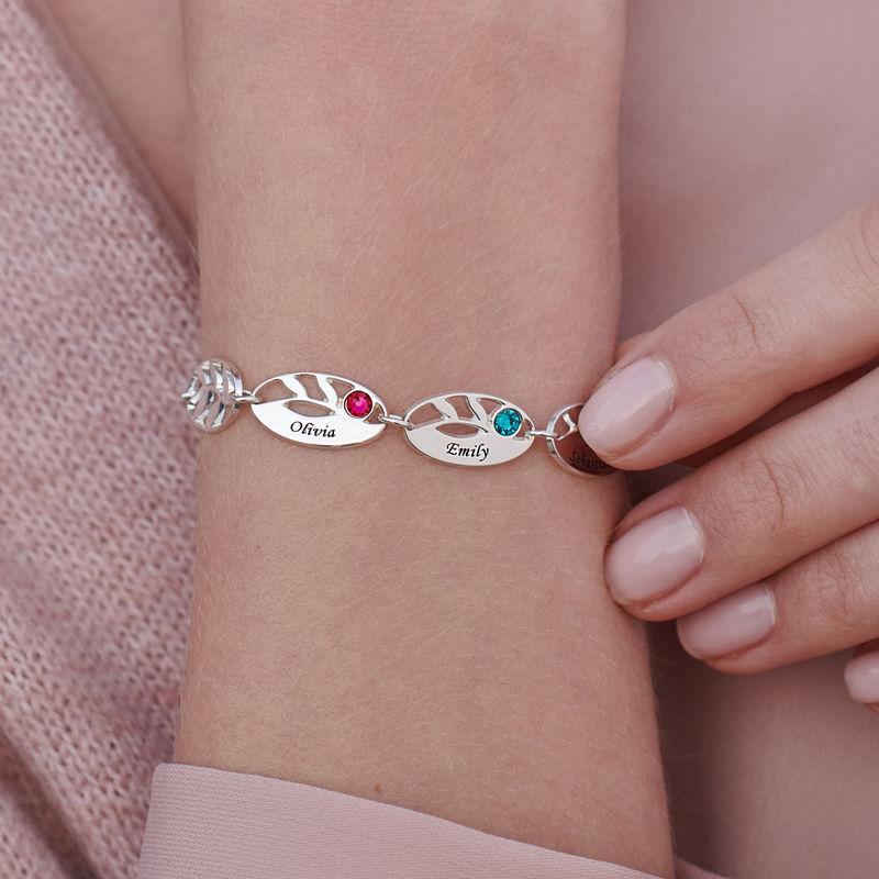 Bracelet de famille pour Maman Feuilles à graver - 3