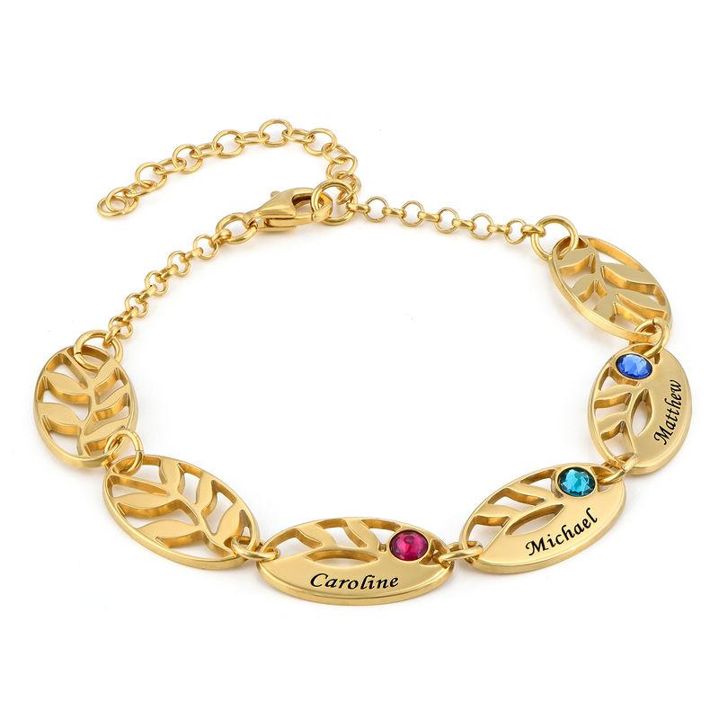 Bracelet feuilles gravées pour maman en plaqué or