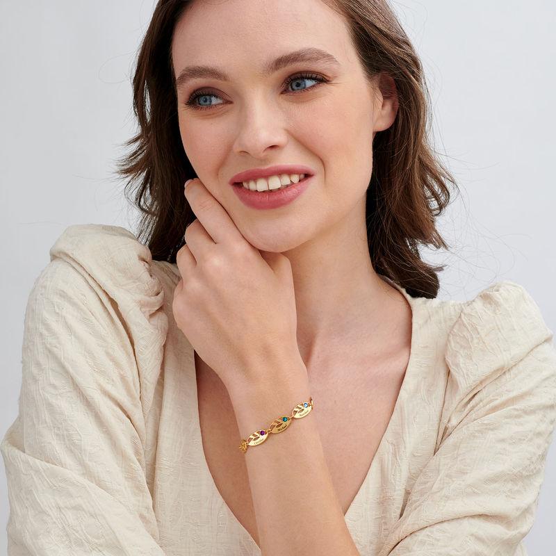 Bracelet feuilles gravées pour maman en plaqué or - 1