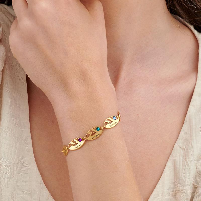 Bracelet feuilles gravées pour maman en plaqué or - 2