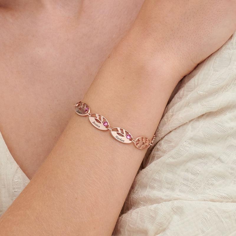 Bracelet feuilles gravées pour maman en plaqué or rose - 2