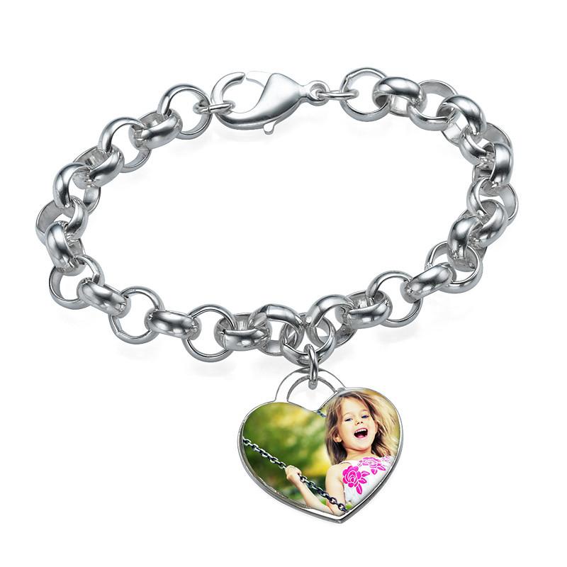 Bracelet charme avec photo en cœur - 1