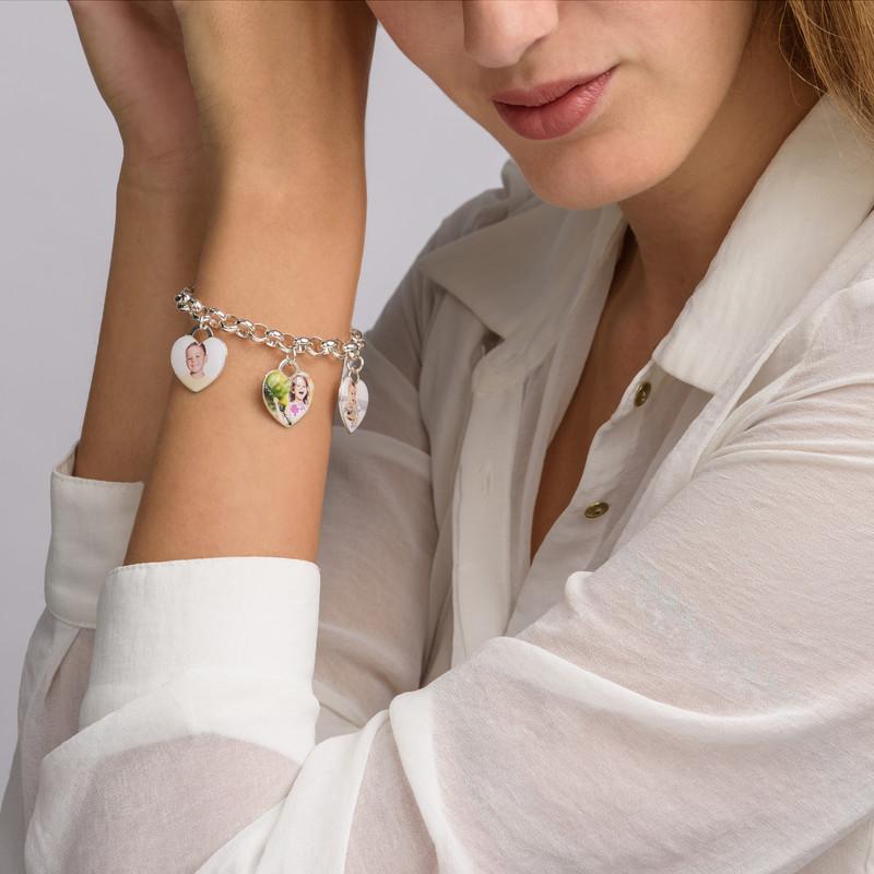Bracelet charme avec photo en cœur - 3