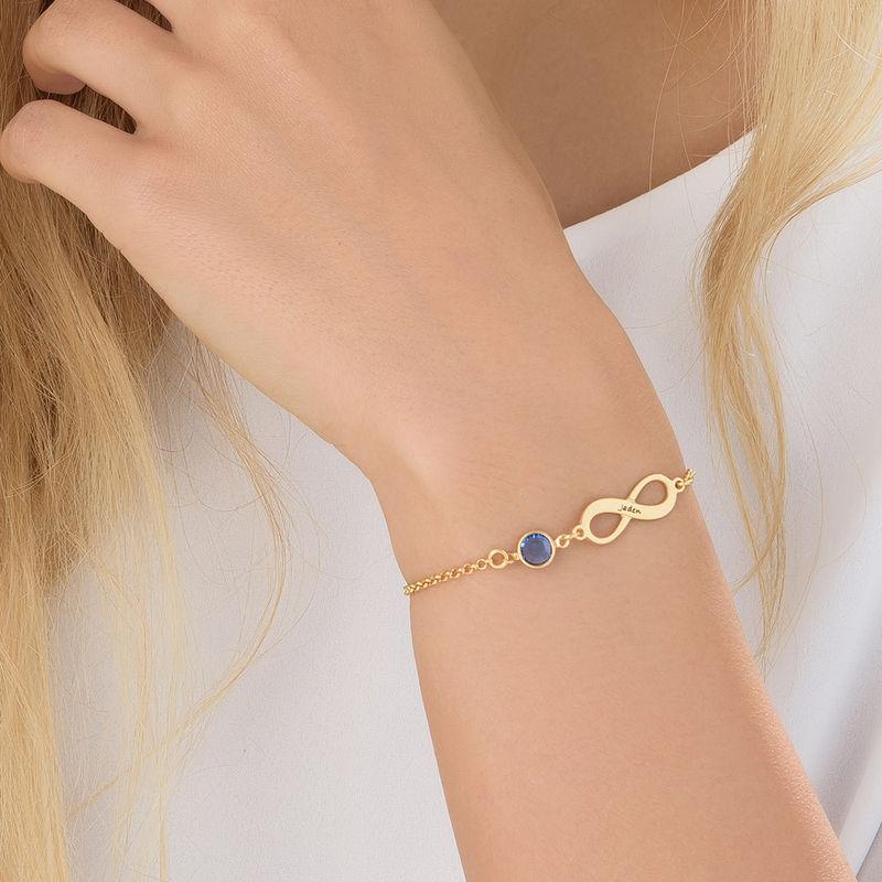 Bracelet Infini pierre de naissance en plaqué or - 3