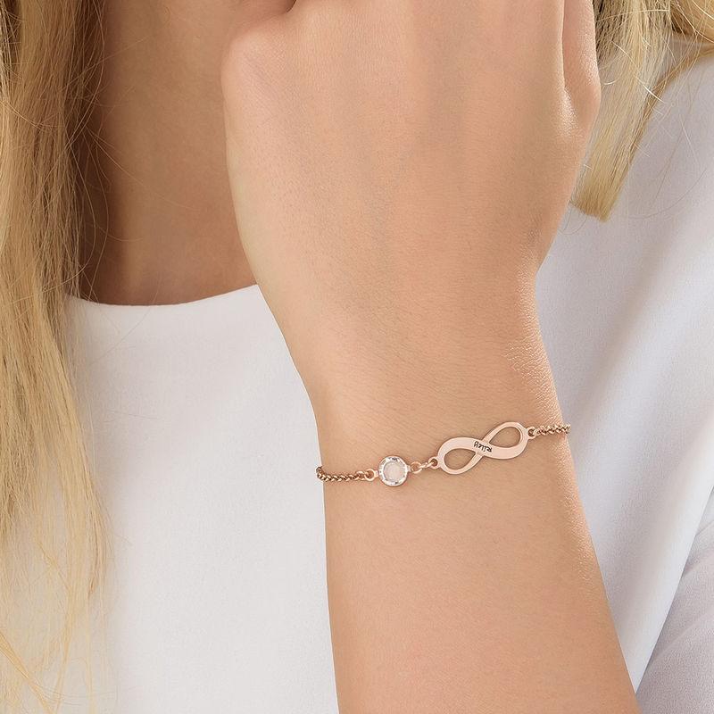 Bracelet Infini pierre de naissance en plaqué or rose - 3