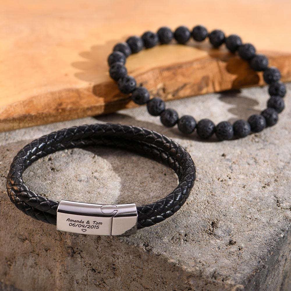 Bracelet Gravé Pour Homme en Acier et Cuir Noir - 3
