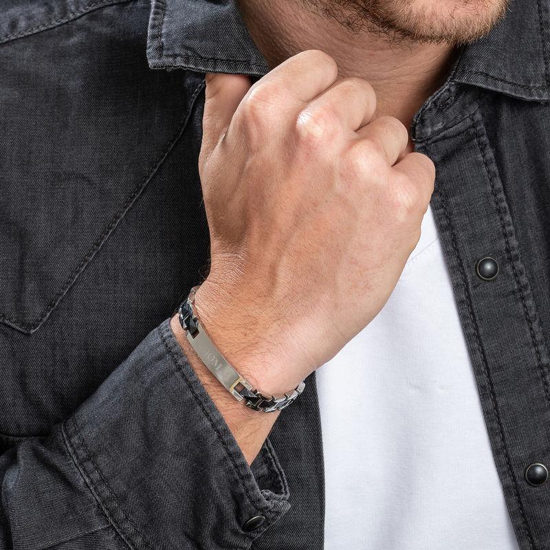 Bracelet ID homme en acier inoxydable et céramique noire - 2